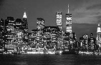Black and white photo New York City - Financial District Skyline - night view